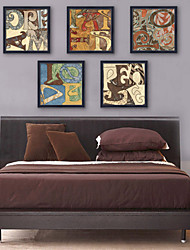 E-HOME® Framed Canvas Art, English Words Framed Canvas Print Set of 5