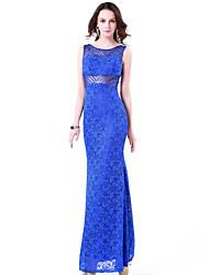 Fiesta formal Vestido - Azul Real Corte Sirena Hasta el Suelo - Escote Joya Encaje