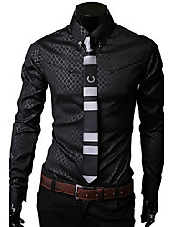 BOMIG Men's Shirt Collar Casual Shirts , Cotton/Lycra/Polyester Long Sleeve Casual/Party/Work