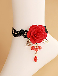 Female Feet Red Crystal Rose Flower Belt