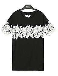 Vestidos ( Tela de Encaje )- Casual/Tela de Encaje Redondo Manga Corta para Mujer