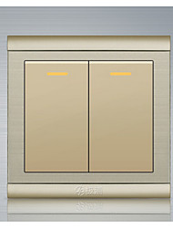 Switch Brushed Stainless Steel Gold  Double Control Wall Switch