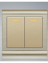 basculer l'interrupteur mural à double commande brossé d'or en acier inoxydable