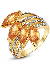 T&C Women's Exquisite Elegant Sapphire Finger Ring 18K Yellow Gold Plated 4 Pieces Champagne Crystal Jewelry