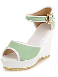 Women's Shoes Wedge Heel Peep Toe/ Sandals Dress/Casual Green/Purple