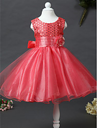 21KIDS A-line Knee-length Flower Girl Dress - Satin Tulle Sequined Jewel with Beading Flower(s) Sash / Ribbon Pleats