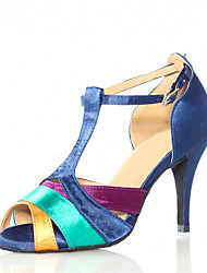 Women's Dance Shoes Latin Satin Stiletto Heel Blue