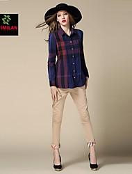 YIMILAN® Women's 2015 Summer New Classic Plaid Shirt Top High-End Atmosphere