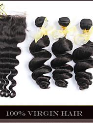 4pcs cabelo virgem onda solta muito malaio com fechamento 3Bundles não transformados trama do cabelo humano com solto encerramento lace