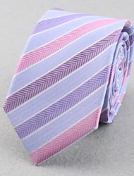 Corbatas ( Azul Claro/Color Beige , Poliéster )- A Rayas/Espiga/Modelo/Free Form