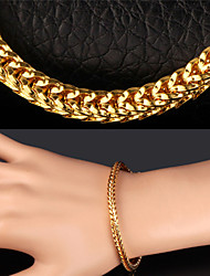 U7 Men's Cube Link Chain 18K Chunky Gold Plated Bracelet for Men Women High Quality with 18K Stamp