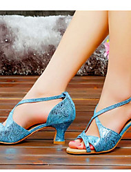 Women's Dance Shoes Latin Satin Chunky Heel Blue/Silver/Gold