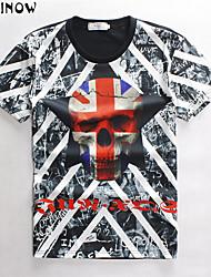 T-Shirts (de Algodão , Multi-côr ) - MEN - Casual/Esporte - Manga Curta - Estampado
