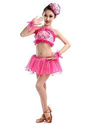 Latin Dance Performance Outfits Children's Performance Polyester Matching Outfit Green/Fuchsia Kids Dance Costumes