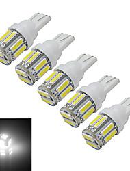 Jiawen® 5pcs t10 1.5w 10 smd 7020 100-120lm 6000-6500k luce bianca fredda dell'automobile (dc 12v)