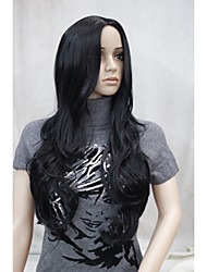 New Fashion No Bangs Side Skin Part Top Women's Black Long Curly Wavy Wig