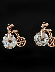 Women's Earring of Unique Bicycle Style Earrings With Austria Crystal Ziconia Studs Brincos