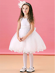 Ball Gown Knee-length Flower Girl Dress - Organza/Satin Sleeveless