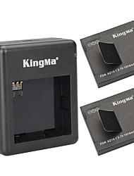 Kingma 2 x 1010mah batteries az13-1 + chargeur de batterie à double fente prévue pour xiaomi xiaoyi - noir