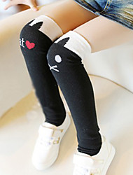 Girl's All Seasons Stretchy Medium Lovely Cat Leggings (Cotton)