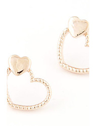 Women's European Style Fashion Sweet Loving Heart Alloy Stud Earrings