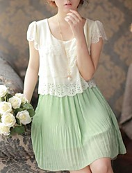 Women's Clothing Chiffon Spell Color Dress