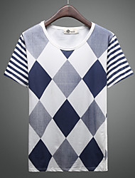 Men's Short Sleeve T-Shirt , Cotton/Cotton Blend Casual Striped