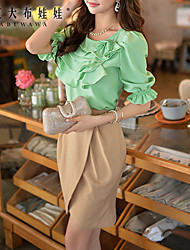 Pink Doll®Women's Round Casual Short Sleeve Ruffle Shirt