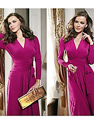 PVE   Women's Solid Color Red Dresses , Casual V-Neck Long Sleeve