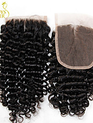 8-22inch Noir Dentelle frontale Bouclé Cheveux humains Fermeture Marron clair Dentelle Suisse 30g - 55g gramme Cap Taille