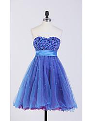 Cocktail Party Kleid - Meeresblau Tülle - Duchesse-Linie - mini - Herz-Ausschnitt