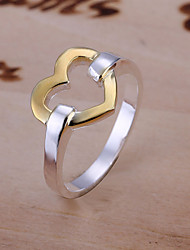 Fashion Heart Shape Silver Plating European Style Ring Jewelry (Silver)(1Pc)