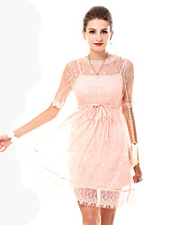 Women's Pink Sheer Lace Dress
