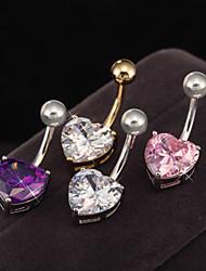 Women's Body Jewelry Navel Rings/Belly Piercing Stainless Steel Zircon Cubic Zirconia Unique Design Fashion Heart JewelryWhite Purple