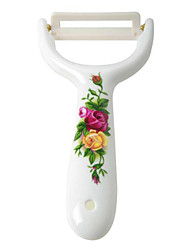 Rose Flower Pattern Zirconia Ceramic Peeler - White