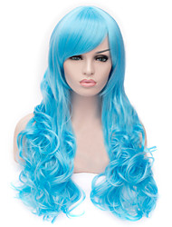 European And American Fashion  Light Blue Inclined Bang Curly Hair Wig