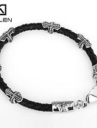 Kalen Men's Jewelry Factory Direct Leather Bracelet with Steel Cross
