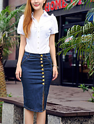 Women's Bodycon Knee-length Skirts , Denim Stretchy