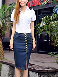 Women's Bodycon Knee-length Skirts , Denim Stretchy