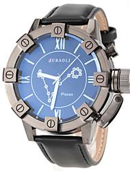 Men's Pisces Pattern Black Leather Band Quartz Wrist Watch