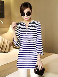 Women's Striped White Shirt , Casual V Neck Long Sleeve