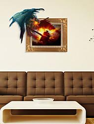 3D, o dragão de fogo adesivos de parede adesivos de parede
