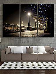 E-HOME® Stretched LED Canvas Print Art Street Lamp LED Flashing Optical Fiber Print Set of 3