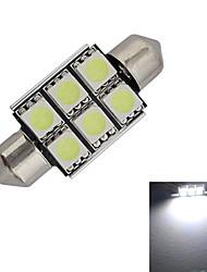 JIAWEN® Festoon 36mm 1.5W 6x5050SMD 100-150LM 6000-6500K Cool White Light LED Car Light (DC 12V)