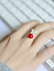 Fashion Women Red Acrylic With Crystal Butterfly Open Adjustable Ring