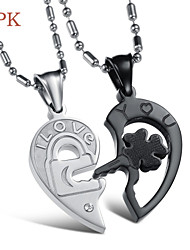 OPK®(2PC) Fashion Lock and Key Puzzles Set Auger 18 K Rose Gold Plating Lovers Necklace High Quality Love Gift