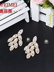 European and American fashion jewelry white crystal ear leaf earrings temperament ladies clothing accessories