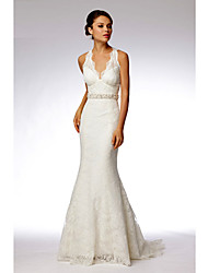 Vestido de Boda - Blanco Corte Sirena Barrida - Halter Encaje