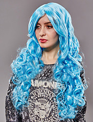 America And Europe Popular Anime  Blue Nylon Hair Curly Hair Wig