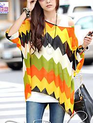 Women Geometric Print Batwing Sleeve Semi Sheer Blouses Clothing